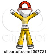 White Firefighter Fireman Man Surprise Pose Arms And Legs Out