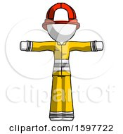 White Firefighter Fireman Man T Pose Arms Up Standing