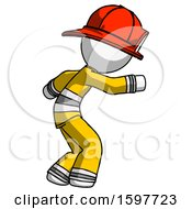 White Firefighter Fireman Man Sneaking While Reaching For Something