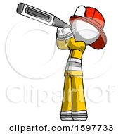 White Firefighter Fireman Man Thermometer In Mouth