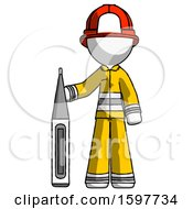White Firefighter Fireman Man Standing With Large Thermometer