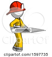 White Firefighter Fireman Man Walking With Large Thermometer