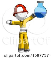 White Firefighter Fireman Man Holding Large Round Flask Or Beaker