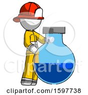 White Firefighter Fireman Man Standing Beside Large Round Flask Or Beaker