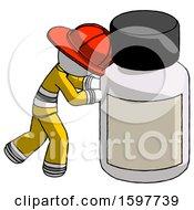 White Firefighter Fireman Man Pushing Large Medicine Bottle