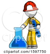 White Firefighter Fireman Man Holding Test Tube Beside Beaker Or Flask