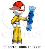 White Firefighter Fireman Man Holding Large Test Tube