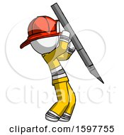 White Firefighter Fireman Man Stabbing Or Cutting With Scalpel