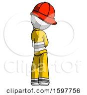 White Firefighter Fireman Man Thinking Wondering Or Pondering Rear View
