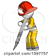 White Firefighter Fireman Man Cutting With Large Scalpel