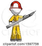 White Firefighter Fireman Man Holding Large Scalpel