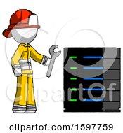 White Firefighter Fireman Man Server Administrator Doing Repairs