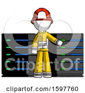 White Firefighter Fireman Man With Server Racks In Front Of Two Networked Systems