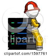 White Firefighter Fireman Man Resting Against Server Rack Viewed At Angle