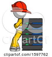 White Firefighter Fireman Man Resting Against Server Rack