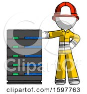 White Firefighter Fireman Man With Server Rack Leaning Confidently Against It