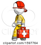 White Firefighter Fireman Man Walking With Medical Aid Briefcase To Left