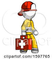 White Firefighter Fireman Man Walking With Medical Aid Briefcase To Right