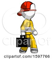 White Firefighter Fireman Man Walking With Briefcase To The Right