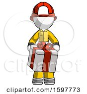 White Firefighter Fireman Man Gifting Present With Large Bow Front View