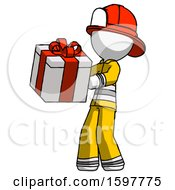 White Firefighter Fireman Man Presenting A Present With Large Red Bow On It