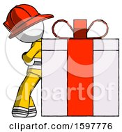 White Firefighter Fireman Man Gift Concept Leaning Against Large Present
