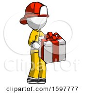 White Firefighter Fireman Man Giving A Present