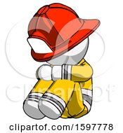 White Firefighter Fireman Man Sitting With Head Down Facing Angle Left