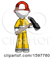 White Firefighter Fireman Man Holding Hammer Ready To Work