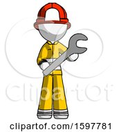 White Firefighter Fireman Man Holding Large Wrench With Both Hands