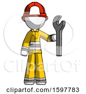 White Firefighter Fireman Man Holding Wrench Ready To Repair Or Work