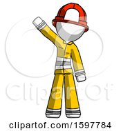 White Firefighter Fireman Man Waving Emphatically With Right Arm