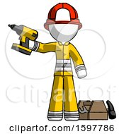 White Firefighter Fireman Man Holding Drill Ready To Work Toolchest And Tools To Right