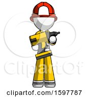 White Firefighter Fireman Man Holding Large Drill