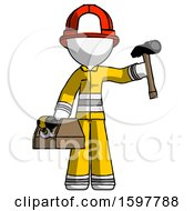White Firefighter Fireman Man Holding Tools And Toolchest Ready To Work