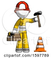 White Firefighter Fireman Man Under Construction Concept Traffic Cone And Tools