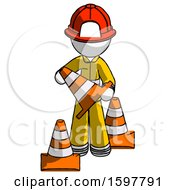 White Firefighter Fireman Man Holding A Traffic Cone
