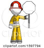 White Firefighter Fireman Man Holding Stop Sign
