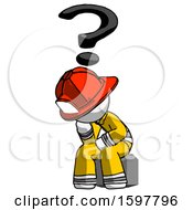 White Firefighter Fireman Man Thinker Question Mark Concept
