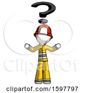 White Firefighter Fireman Man With Question Mark Above Head Confused