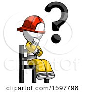 White Firefighter Fireman Man Question Mark Concept Sitting On Chair Thinking