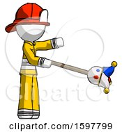 White Firefighter Fireman Man Holding Jesterstaff I Dub Thee Foolish Concept