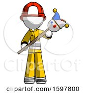 White Firefighter Fireman Man Holding Jester Diagonally