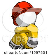 White Firefighter Fireman Man Sitting With Head Down Back View Facing Left