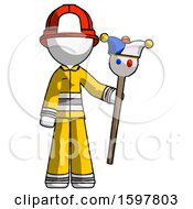 White Firefighter Fireman Man Holding Jester Staff