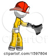 White Firefighter Fireman Man Dusting With Feather Duster Downwards