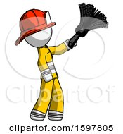 White Firefighter Fireman Man Dusting With Feather Duster Upwards