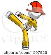 White Firefighter Fireman Man Ninja Kick Left