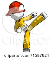 White Firefighter Fireman Man Ninja Kick Right