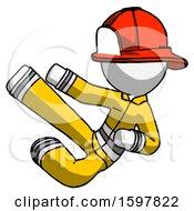 White Firefighter Fireman Man Flying Ninja Kick Left
